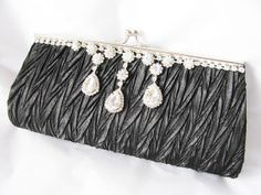 Black   Bridal Wedding Bag Clutch Formal Wear by weddingswithflair, $48.00
