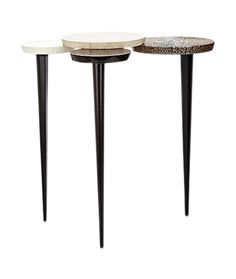 Four Circle Side Table  Art Deco, Contemporary, Transitional, Leather, Metal, Parchment, Wood, Side Table by Carlyle Collective