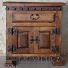 The Mesquite Alamo Spanish style nightstands are hand built from mesquite wood. Feature a single drawer, two-door cabinet, iron clavos, pulls and hardware.