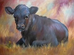 Cow Painting - Little Moo  Angus Calf Painting Southwest Art by Kim Corpany