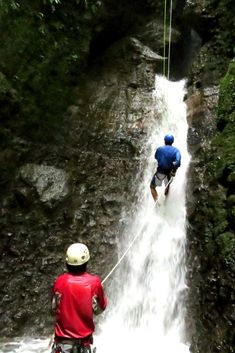 Waterfall rappelling in Arenal Costa Rica - an amazing experience! The first waterfall was almost 300 feet tall! #CostaRica #Arenal #waterfall