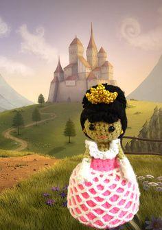 Crochet Amigurumi fairytale Princess pattern PDF childrens softie toy handmade girl doll plush DIY Tutorial