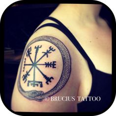 #BRUCIUS #tattoo #SF #old #ouroboros #Jörmungandr #rune #protection #vegvisir #Finnish #shoulder #black #work #linework #history