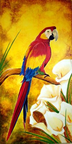 Paintings & Paintings: Pretty paintings with birds painting oil – Cecilia Santamaria – Join the world of pin Watercolor Bird, Watercolor Paintings, Parrot Painting, Plastic Art, Colorful Birds, Fabric Painting, Bird Art, Beautiful Birds, Animal Drawings