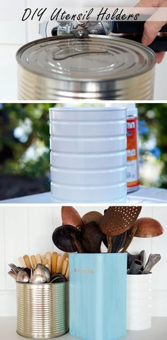 How to Make Uppcycled Utensil Holders - Easy Kitchen Organization and Tips - Click for Tutorial