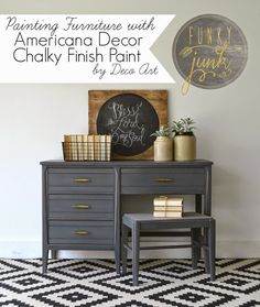 Funky Junk: Painting Furniture with Deco Art Chalky Finish Paint Relic sealed with DecoArt Ultra-Matte Varnish Furniture Painting Techniques, Paint Furniture, Furniture Projects, Furniture Makeover, Furniture Refinishing, Americana Chalk Paint, Chalky Finish Paint, Funky Decor, Grey Desk