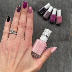 """Leanne on Instagram: """"After 3 weeks of TLC for my nails, I'm back with a skittle...just love all of these @essie shades!!! From thumb to pinkie 💖#balletsneakers…"""" Skittle, Diy Manicure, Essie, Just Love, 3 Weeks, Nail Polish, Shades, Nails, Beauty"""