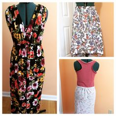 3 great summer items made by me jersey maxi inspired by banana republic, linen high-low skirt and racer back knit dress inspired by loft. Fabric for dresses comes from @girlcharlee, linen from Joanns fabric.