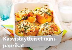Kasvistäytteiset uunipaprikat, resepti: Valio #kauppahalli24 #resepti #uunipaprikat #paprika #ruokaideat #valio