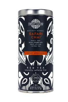 Safari Chai™  Inspired by adventures of the high mountains of Cederberg South Africa. The classic spices of a traditional chai take a modern twist when blended with South African rooibos (red) tea. This rhythmic blend is enticingly delicious which can be enjoyed on its own or with warm milk and sugar. It brews to a captivating honey-amber perfection.
