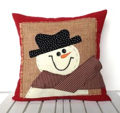 Snowman Christmas Pillow.  Click here to buy or to see more holiday pillows.   $29.99