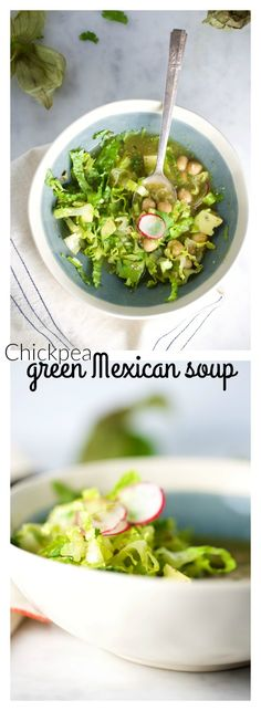 Green Mexican soup with chickpeas, delicious, easy and addictive. Recipe in English and Spanish. Sopa mexicana verde con garbanzos.