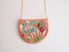 RESERVED Wildflowers embroidered necklace medium by LanaPelana