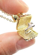 Realistic Diamond Ring in Ring Box Shaped 3D Pendant Necklace in Gold $12.50 #diamonds #engagement #jewelry #necklaces #pendants