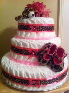 Leopard Print Girls Diaper Cake. $95.00, via Etsy.