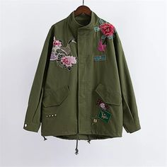 autumn winter Peacock peony embroidery loose A word version coat jacket Army green Love it? Visit our store