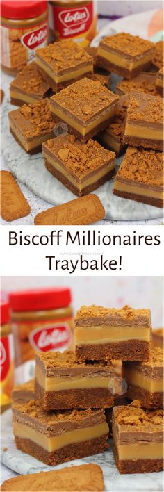 Biscoff Biscuit base, Homemade Caramel Filling, and a Biscoff Chocolate Topping Biscoff Millionaires Traybake! is part of Dessert recipes - Tray Bake Recipes, Baking Recipes, Cookie Recipes, Dessert Recipes, Just Desserts, Delicious Desserts, Biscoff Recipes, Janes Patisserie, Biscuit Recipe