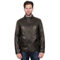 Men's Tahari Elements Faux-Leather Open-Bottom Bomber Jacket, Size: Medium, Brown