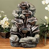 The sound of trickling water lets you escape to an Exotic Paradise. Resin indoor/outdoor water fountain features stones and lilies at different heights. Indoor Water Fountains, Indoor Fountain, Garden Fountains, Water Garden, Lawn And Garden, Table Fountain, Fountain Design, Waterfall Fountain, Backyard Paradise