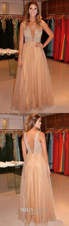 Champagne Prom Dresses Long, Princess Prom Dresses V Neck, Organza Prom Dresses Crystal Detailing, Open Back Prom Dresses Sexy Cheap Pageant Dresses, Princess Prom Dresses, Cheap Evening Dresses, Party Dresses, Homecoming Dresses, Prom Gowns, Graduation Dresses, Glamorous Evening Dresses, Elegant Prom Dresses