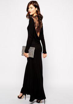 Vestido largo sin espalda manga larga-negro 13.59