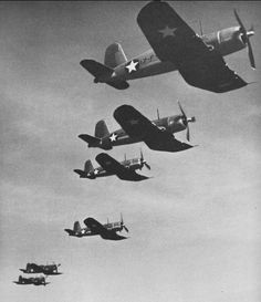 Vought F4U-1 Corsair fighters of fighter squadron VF-17 in 1943.