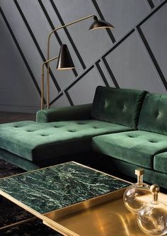 Green marble, luxury for bathroom and kitchen - In this article, we will show you green marble bathroom and kitchen ideas for this spring. Green Marble instantly provides an elegant feeling of luxury. Living Room Sofa, Interior Design Living Room, Living Room Designs, Living Room Decor Green, Green Home Decor, Living Rooms, Home Furniture, Furniture Design, Modern Furniture