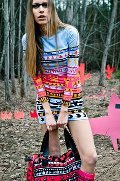 Blue Tribe dress with colorful patterns on Etsy, $100.00