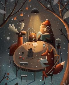Artist unknown Illustration Children obtain Art And Illustration, Illustration Inspiration, Christmas Illustration, Photo Images, Jolie Photo, Whimsical Art, Cute Art, Illustrators, Folk Art