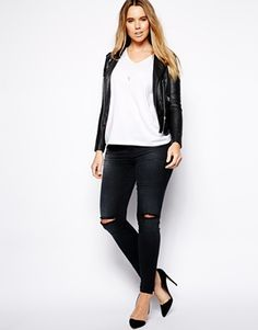 ASOS CURVE | Ridley Skinny In Mid Wash With Ripped Knee | { Plus