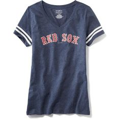 "Old Navy MLB""¢ V Neck Tee For Women ($23) ❤ liked on Polyvore featuring tops, t-shirts, blue v neck t shirt, fitted t shirts, fitted v neck tee, short sleeve t shirt and short sleeve tee"