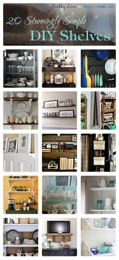 20 DIY:: LOW Budget Stunningly Simple Shelves For Every Room in Your Home ! !! Who doesn't need more SPACE ?