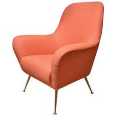 Pair of Iron Base Orange Upholstered Arm Chairs