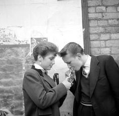 A Teddy Boy and a Teddy Girl, with cigarette and lighter. Photo by Ken Russell. Teddy Girl, Teddy Boys, Ken Russell, Vintage Lesbian, Hippie Man, Graffiti, Youth Culture, Girl Inspiration, Character Inspiration