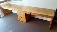 Office Desk made out of Marine grade fir plywood with integrated pulls. Built by Sierra Cabinets designed by @jeffguga #cabinets #cabinetry #sierracabinets #custom #wood #woods #interiordesign #woodworking #architecture #la #cabinetmaker #woodwork #woodporn #woodart #design #diy #tgif #fir #plywood #art #firwood #modern #marinegrade #office #desk