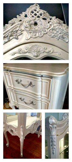 """Carolyn Torres of Love Letters Furniture creates beautiful """"Old Hollywood Glam"""" finishes using Artisan Enhancements Pearl Plaster! Hand Painted Furniture, Recycled Furniture, Metal Furniture, Furniture Styles, Furniture Projects, Furniture Makeover, Vintage Furniture, Diy Furniture, Furniture Refinishing"""
