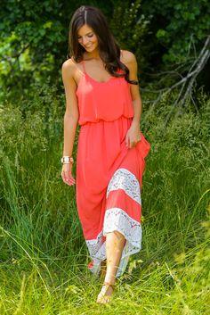 Small Town Love Maxi Dress-Coral - $48.00