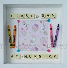 First day at nursery/preschool/school keepsake frame with scrabble letters Scrabble Tile Crafts, Scrabble Wall Art, Scrabble Letters, Box Frame Art, Deep Box Frames, Diy Frame, Craft Gifts, Diy Gifts, First Day At Nursery