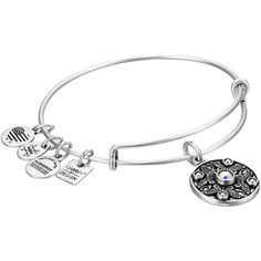 Alex and Ani Charity By Design Wings of Change Bracelet (Silver)... ($38) ❤ liked on Polyvore featuring jewelry, bracelets, charm jewelry, silver jewelry, wing charms, silver jewellery and silver charm bangle