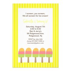 Yellow Striped Ice Pops Birthday Invitation