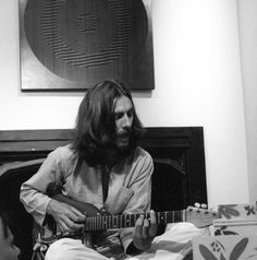 During the recording sessions for 'The Hare Krishna Mantra' in 1969 with members of the London Radha Krishna Temple.