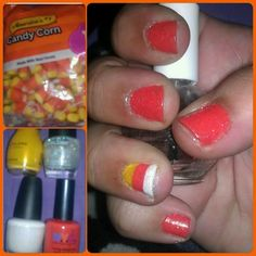 Candy corn inspired nail art, painted by me
