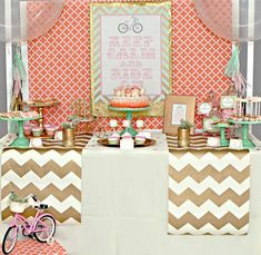 Vintage Chic Bicycle Party via Kara's Party Ideas KarasPartyIdeas.com LOVE the chevron runners across the table