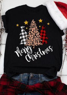 Merry Christmas Plaid Leopard Printed Tree T-Shirt Tee - White - Bellelily Merry Christmas, Christmas Tops, Plaid Christmas, Christmas Shirts, Christmas Sweaters, White Christmas, Christmas Outfits, Family Christmas, Christmas Ideas