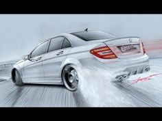 Mercedes C63 AMG Drift Drawing by Adonis Alciciwith Copic