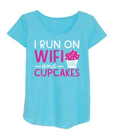 Look at this 'I Run On Wifi' Curved-Hem Short-Sleeve Tee - Girls on #zulily today!