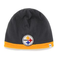 f66d5847593 Pittsburgh Steelers Grid Fleece Beanie Charcoal 47 Brand YOUTH Hat