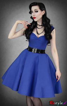 Royal Blue circle dress pin up 50' style pettitcoat | CLOTHING \ Dresses | Restyle.pl
