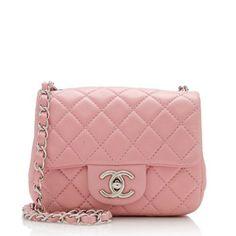 Pre-Owned Chanel Lambskin Classic Square Mini Flap Shoulder Bag Burberry Handbags, Chanel Handbags, Coach Handbags, Fashion Handbags, Fashion Bags, Burberry Bags, Designer Handbags, Designer Bags, Chanel Purse