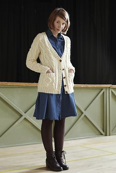 Ravelry: Land Girl: Cable Aran Cardigan pattern by Kyoko Nakayoshi Cable Cardigan, Cardigan Pattern, Top Pattern, Land Girls, Cotton Clouds, Dress With Cardigan, 1940s Fashion, Work Wardrobe, Casual Outfits